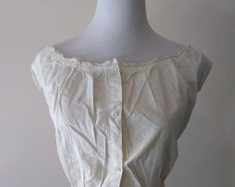 Antique Corset Cover Camisole, Edwardian, Victorian, Cotton, Lace Trim, Underwear, Undergarment, Top, Early 1900s, 1800s