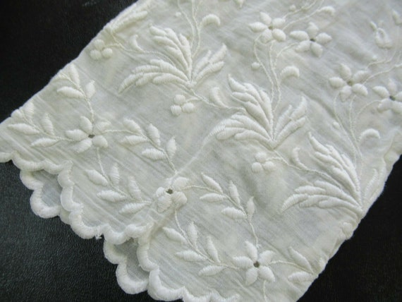 1910s Edwardian Mesh Lace Embroidered Cotton Wome… - image 4