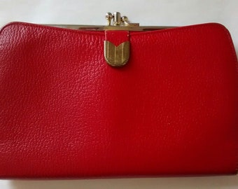 Vintage Bond Street Red Leather Kisslock Wallet, Clutch Purse