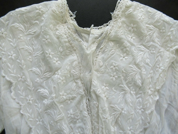 1910s Edwardian Mesh Lace Embroidered Cotton Wome… - image 2