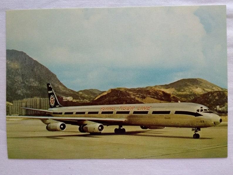 Vintage Flying Tiger Airline DC8 Super 63F Cargo Jet Postcard