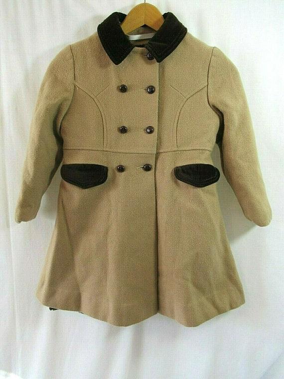 Vintage 50s Girls Wool Princess Coat, Camel Color… - image 1
