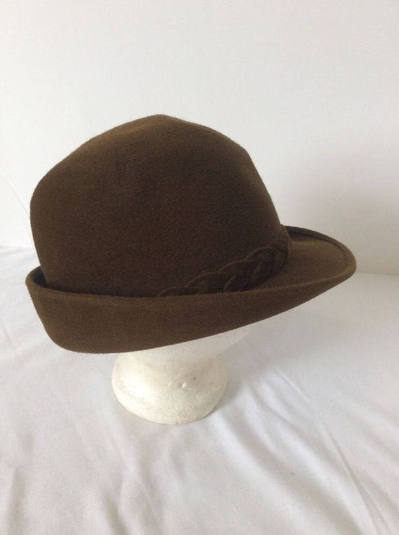 821328f04 Cavanagh Brown Fedora Hat 7 3/8 Braided Trim Union Made | Etsy