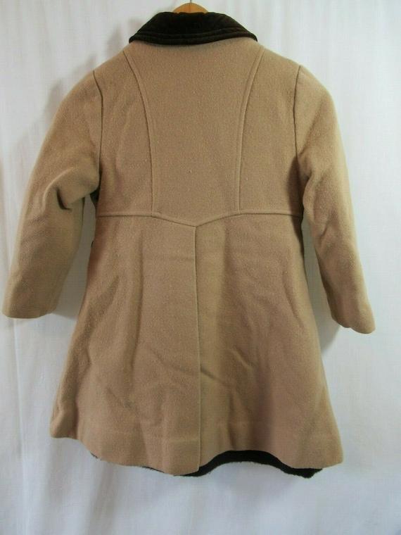 Vintage 50s Girls Wool Princess Coat, Camel Color… - image 3