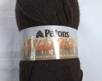 Patons Classic 100% Wool Chestnut Brown Yarn Skein