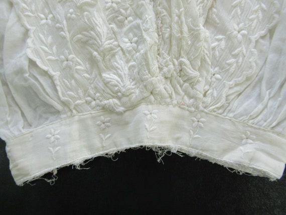 1910s Edwardian Mesh Lace Embroidered Cotton Wome… - image 3