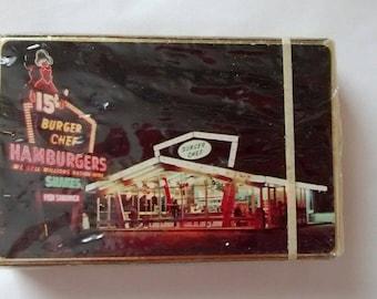 Vintage Sealed Burger Chef Restaurant Bridge Playing Cards, NOS, Advertising