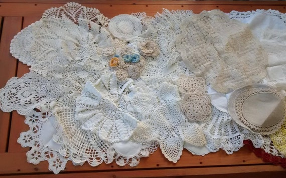 Huge Vintage Doily Lot, White, Ivory, Ecru, Cotton, Linen, Crocheted, Wedding, Handmade