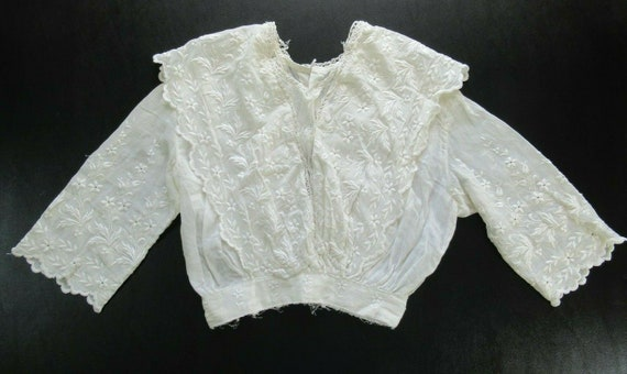 1910s Edwardian Mesh Lace Embroidered Cotton Wome… - image 1