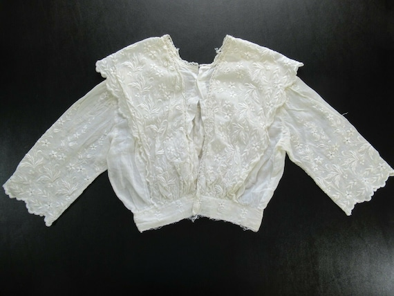 1910s Edwardian Mesh Lace Embroidered Cotton Wome… - image 6
