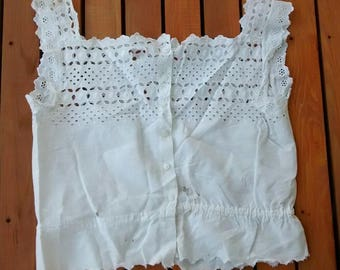 Antique Edwardian Cotton White Eyelet Camisole Corset Cover, Underwear, Undergarment, Top, Embroidered, Early 1900s