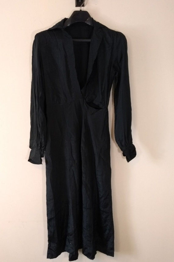 Antique Edwardian Black Silk Dress, Early 1900s
