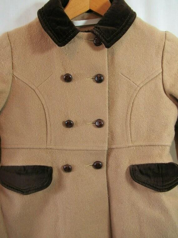 Vintage 50s Girls Wool Princess Coat, Camel Color… - image 2