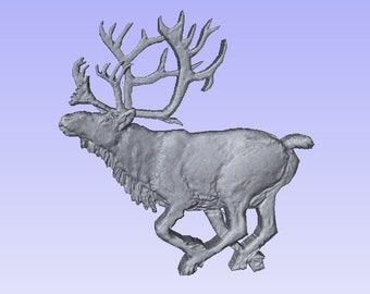 8f2b489e4 Bull Caribou running, STL file for CNC