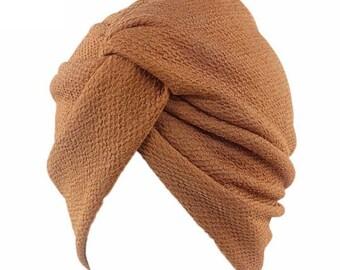 Camel color head cap turban Hijab beanie chemo hat stretch  eb477064882