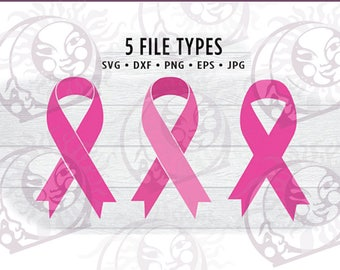 Pink Ribbon SVG - Breast Cancer Svg - Awareness - Jpg • Eps • Dxf • Png Digital Cut File - Circuit Silhouette