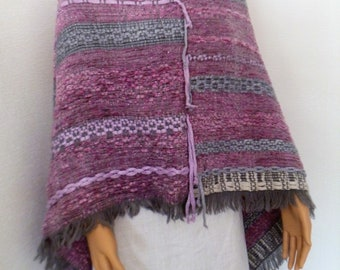 Asymmetrical poncho - Cape wool, fashion accessory, sweater, scarf, cheich