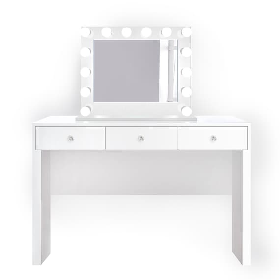 Glam White Makeup Vanity Set Includes Glam Hollywood Mirror + Makeup Table  with Three Drawers