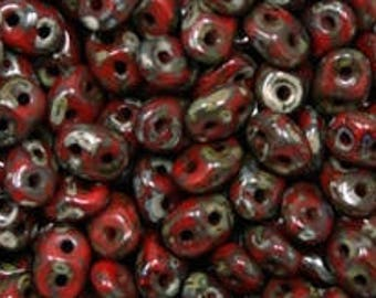 10gr SUPERduo Beads 2 Holes Opaque Coral Red Picasso