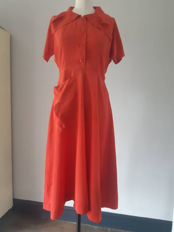 1940s red rayon dress