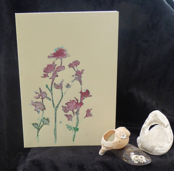 Handmade Card Flowers Red Green Birthday Greetings
