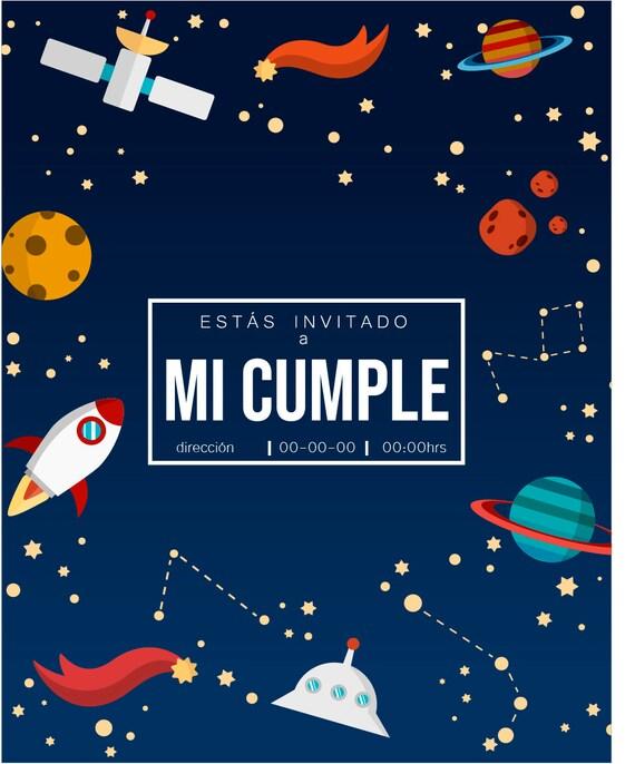 Invitación Cumpleaños Espacial
