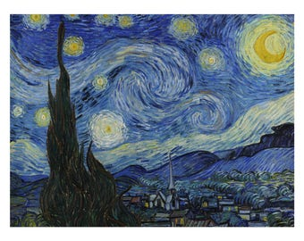 Archival Print of Starry Night by Vincent Van Gogh