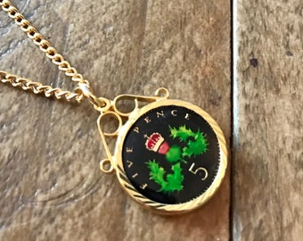 Beautiful Enamel 1999 Five Pence Coin Pendant & Gold Plated Necklace.  19th Wedding Anniversary or 19th birthday gift for daughter niece