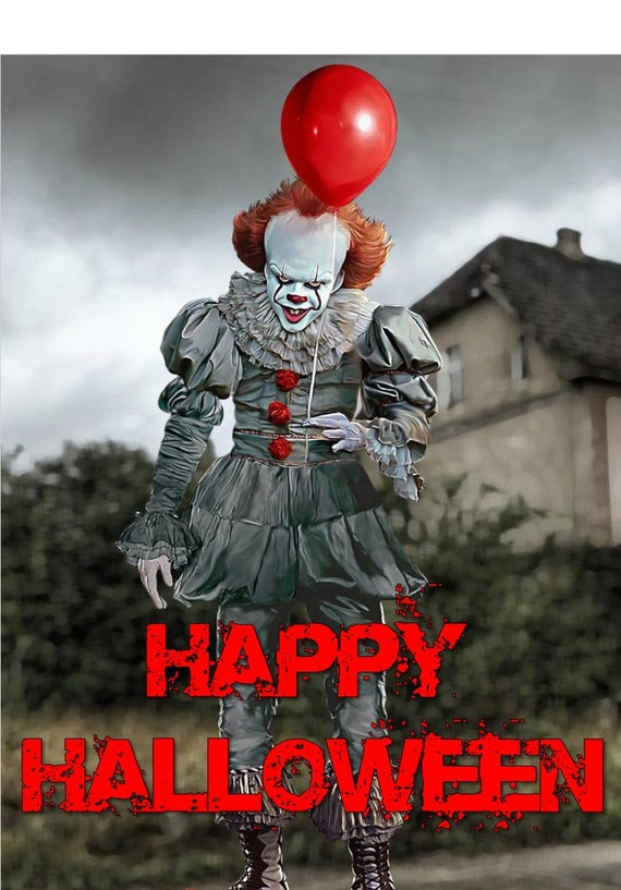 A4 HORROR IT THE CLOWN EDIBLE ICING BIRTHDAY CAKE TOPPER