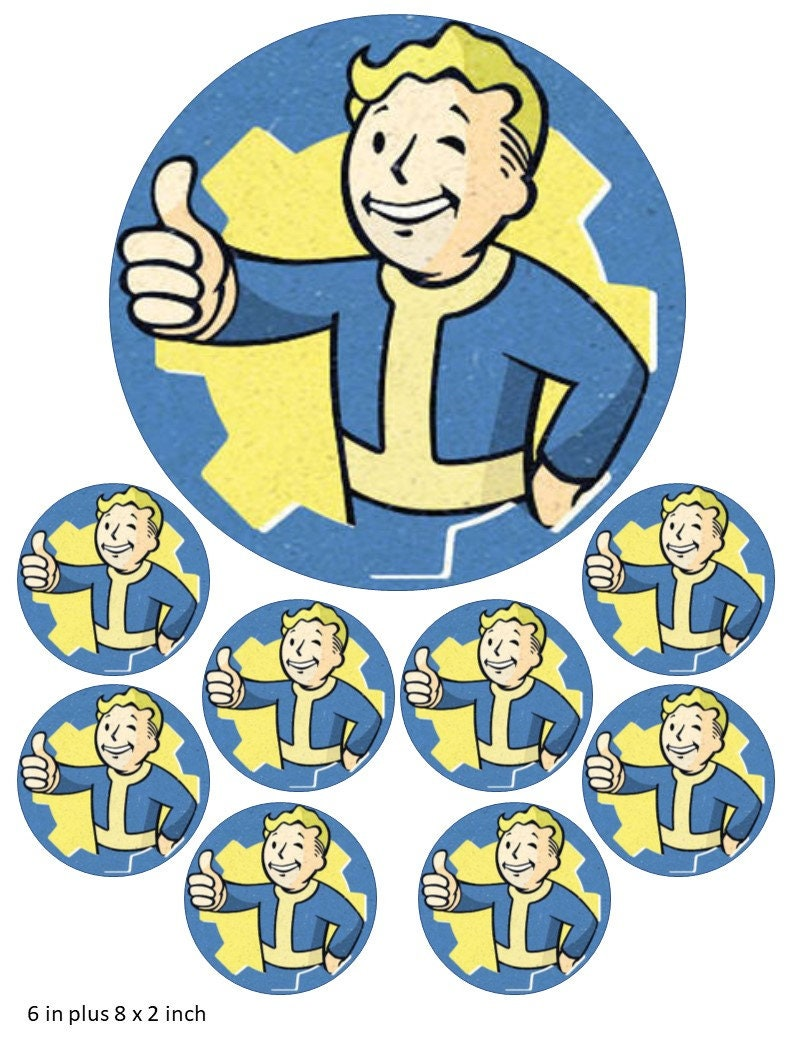Vault Boy Cake and Cupcake Toppers, Fallout, Gaming, Xbox, PlayStation,  Power Armour