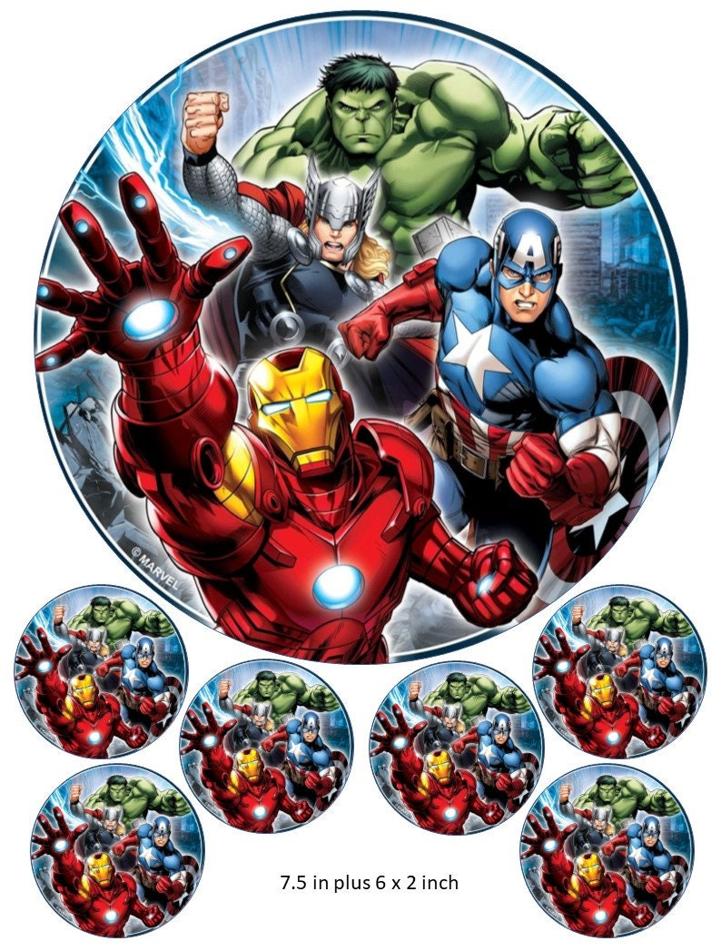 THE AVENGERS MARVEL SUPERHEROS Personalized Cake Topper Icing Sugar Paper 7.5 image 2