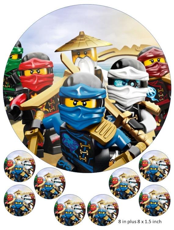"Ninjago Personnalisé Anniversaire Cake Topper Gaufrette Comestibles Papier 7,5 /""img ninja jay"