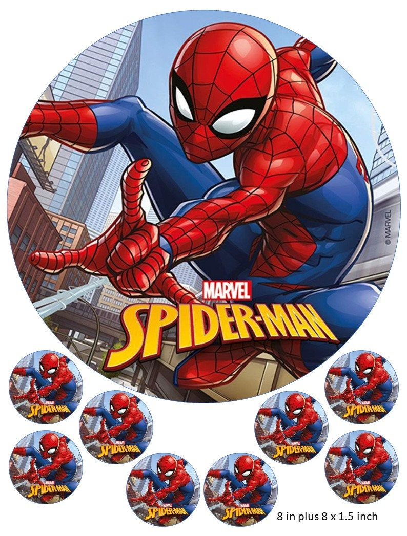 SPIDERMAN EDIBLE CAKE TOPPER WAFER MANY SIZES ICING
