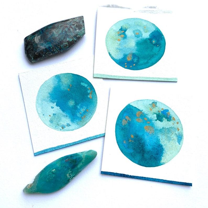 3 Mini Turquoise Moons