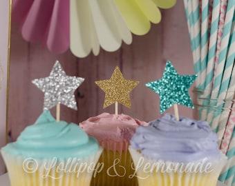 Star cupcake toppers, 1 dozen