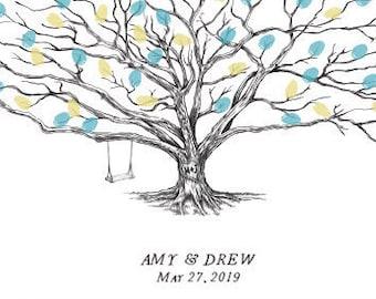 Wedding Guest Book Alternative, Thumbprint Tree, Swing and Heart Low Oak, Fingerprint Guestbook, Bridal Shower, Family Reunion, Baby Shower