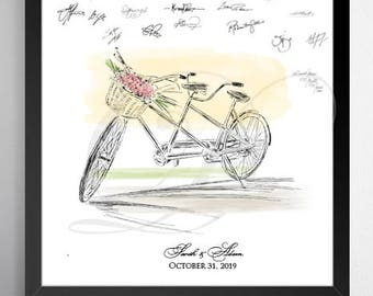 Bicycle Built for 2 Guestbook Print, Guest Book, Bridal Shower,f Wedding, Alternative GuestBook, Sign-in, Bike for Two  (8 x 10 - 24 x 36)
