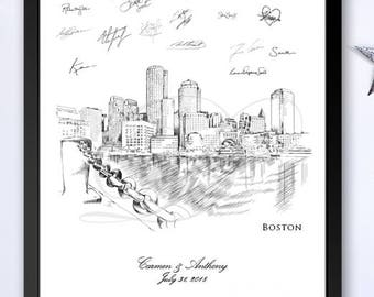 Bridal Shower 8 x 10-24 x 36 Wedding Sign-in Guest Book Alternative Boston Skyline View 4 Guestbook Print Wedding Custom