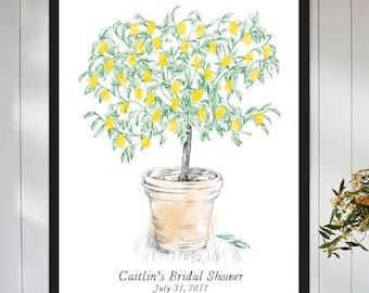 Lemon Tree Wedding Guest Book Alternative, Thumbprint Print, Fingerprint Guestbook, Wedding, Bridal Shower, Baby Shower, Birthday