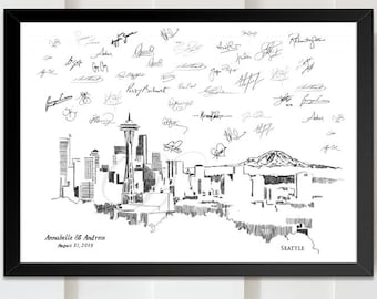 Wedding Guestbook Sign in Chattanooga Skyline Wedding Guest Book Alternative Print Bridal Shower Custom Tennessee Family Reunion