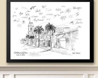 Key West Skyline Guestbook Print, Beach, Guest Book, Bridal Shower,  Wedding, Custom, Alternative, Baby Shower, Family Reunion, Birthday