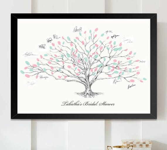 Wedding Guest Book Thumbprint Tree 185 250 Guests 22 X: Bridal Shower Low Oak Tree Thumbprint Guestbook Print