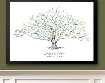 Wedding Guest Book Alternative, Thumbprint Tree, Low Oak, Fingerprint Guestbook, Bridal Shower, Family Reunion, Wedding, Rustic, Baby Shower