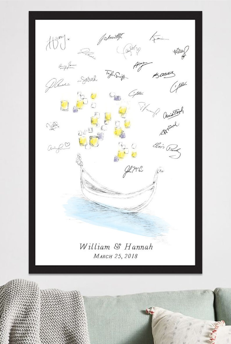 FREE PEN! Disney Bridal Shower Alternative Guest Book Tangled Gondola and Lanterns Print Sign-in Guestbook Wedding Fairytale