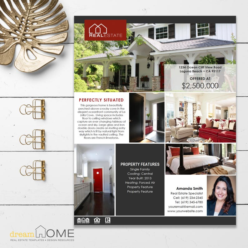 Real Estate Flyer Template | Real Estate Flyer | Vertical Images - MS Word,  MS PowerPoint and Apple Pages *Instant Download*