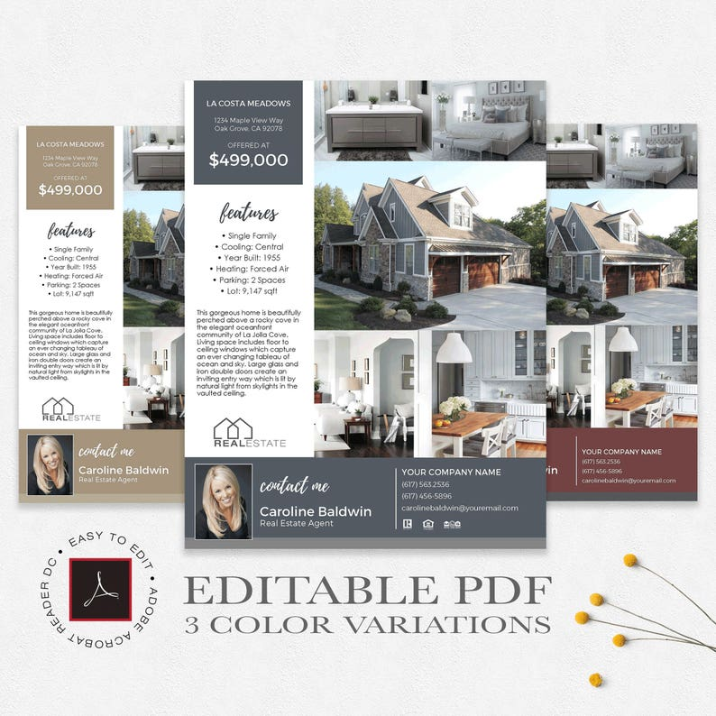 Real Estate Flyer Template Editable Pdf 3 Color Variations Etsy