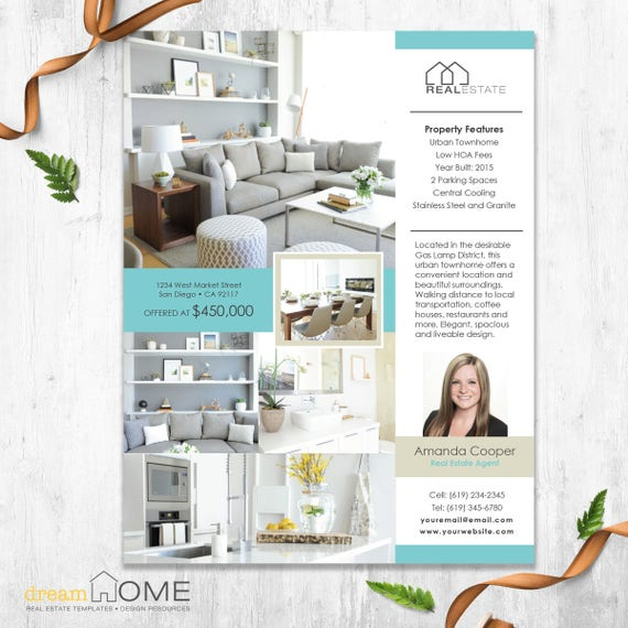real estate flyer template real estate flyer us ltr and a4 etsy