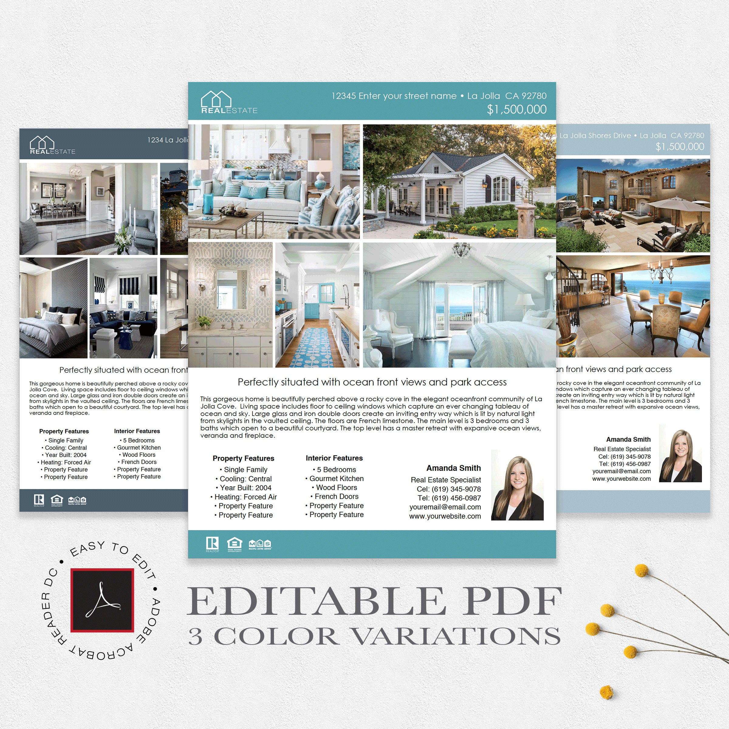Real Estate Flyer Template | Editable PDF | 3 Color Variations | Real  Estate Flyer | PDF Adobe Acrobat DC *Instant Download*