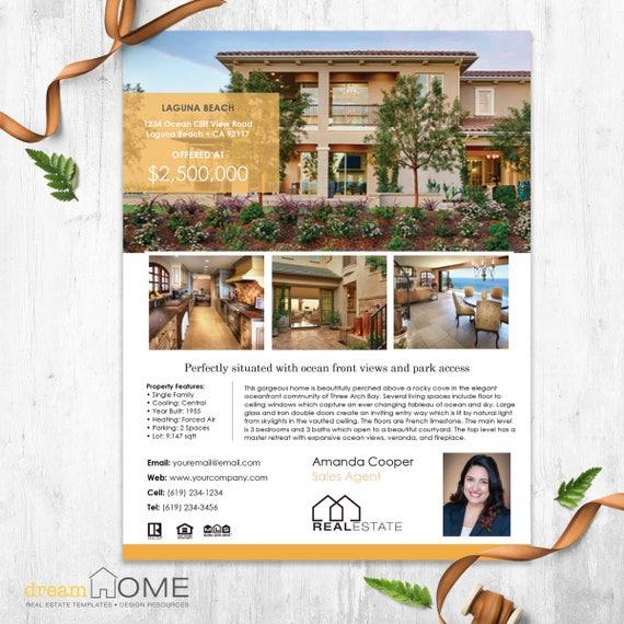 real estate flyer template real estate flyer us ltr a4 etsy
