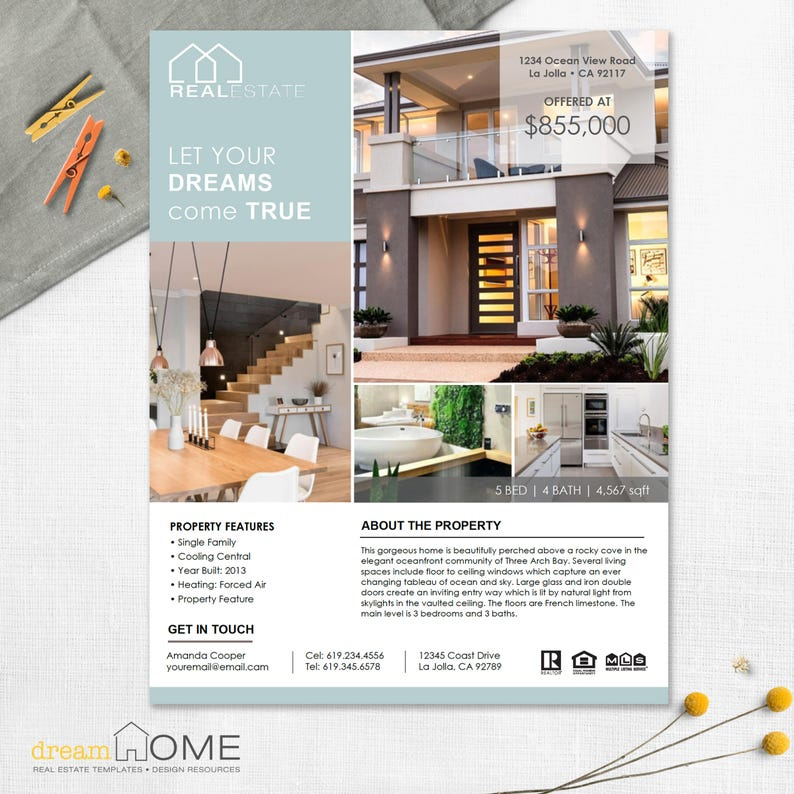 Real Estate Flyer Template | Real Estate Flyer | Vertical Images - MS Word,  MS PowerPoint and Apple Pages *Instant Download* US Ltr and A4